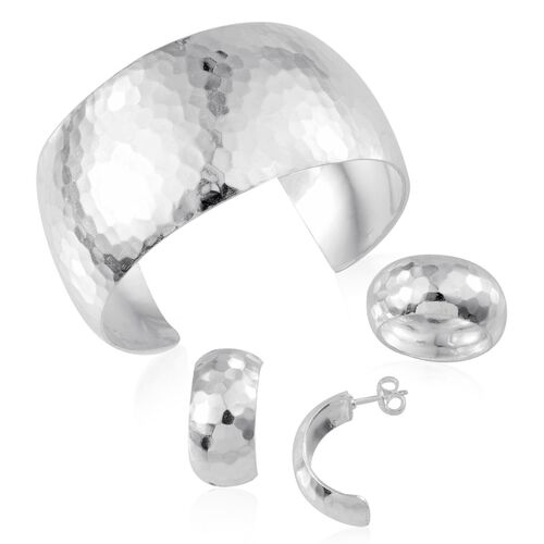 Sterling Silver Band Ring, Cuff Bangle (Size 7.50) and Earrings (with Push Back), Silver wt 56.08 Gms.