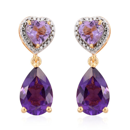 Lusaka Amethyst (Pear), Rose De France Amethyst Earrings (with Push Back) in 14K Gold Overlay Sterling Silver 7.000 Ct.