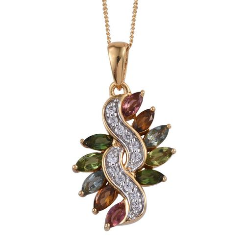 Rainbow Tourmaline (Mrq), Natural Cambodian Zircon Pendant With Chain in 14K Gold Overlay Sterling Silver 1.500 Ct.