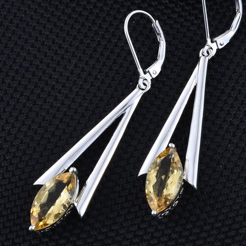 Citrine (Mrq) Lever Back Earrings in Platinum Overlay Sterling Silver 5.000 Ct.