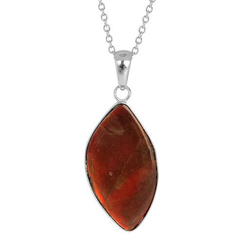 Canadian Ammolite Pendant With Chain in Rhodium Plated Sterling Silver 12.380 Ct.