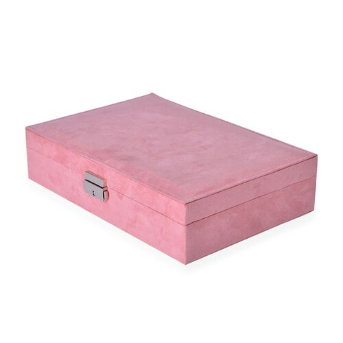 Pink Velvet Two Layer Jewellery Box with Removable Rings, Earrings Tray and Watch Slot and Section Storage with Mirror Inside (Size 28x19x7 Cm)