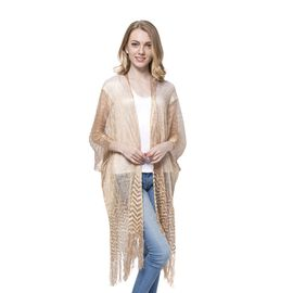 New For Season -Golden Colour Water Ripple Pattern Poncho with Long Fringes (Size 110x75 Cm)