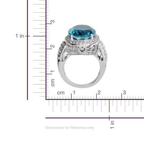Capri Blue Quartz (Ovl 9.50 Ct), White Topaz Ring in Platinum Overlay Sterling Silver 10.750 Ct.