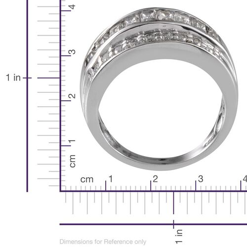 J Francis - Platinum Overlay Sterling Silver (Bgt) Ring Made With SWAROVSKI ZIRCONIA 2.020 Ct.