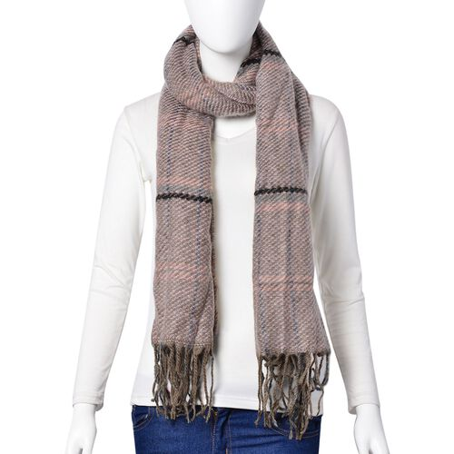 Light Pink and Black Colour Checks Pattern Scarf with Tassels (Size 90X66 Cm)