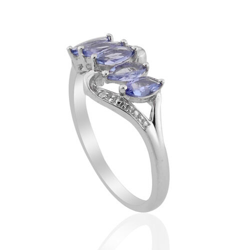 Tanzanite (Mrq), Diamond Ring in Platinum Overlay Sterling Silver 0.670 Ct.