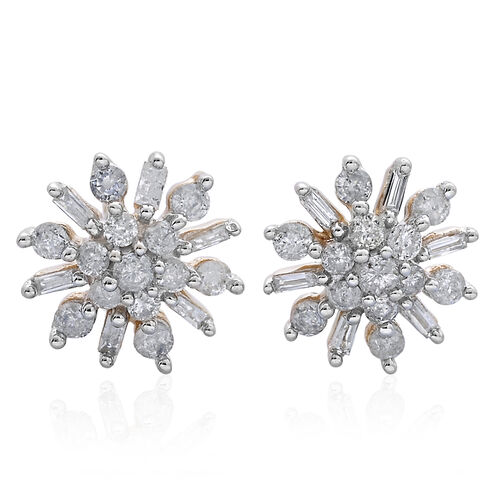 9K Y Gold SGL Certified Diamond (Rnd) (I 3/G-H) Floral Stud Earrings (with Push Back) 0.500 Ct.