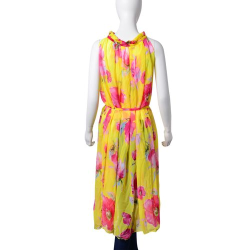 New For Season -Pink, Grey and Multi Colour Bloom Floral Pattern Yellow Colour Dress (Free Size)