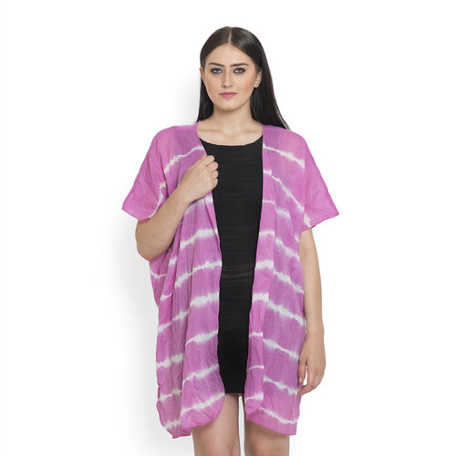 Hand Dyed 100% Cotton Tye and Dye Pattern Pink Colour Poncho (Free Size)