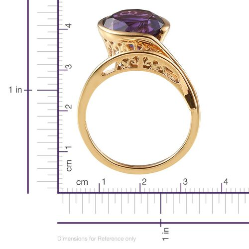 Lusaka Amethyst (Rnd) Solitaire Ring in 14K Gold Overlay Sterling Silver 4.500 Ct.