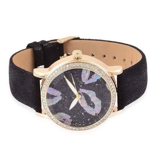 STRADA Japanese Movement Black Stardust Dial with White Austrian Crystal Water Resistant Watch in Yellow Gold Tone with Stainless Steel Back and Black Colour Strap
