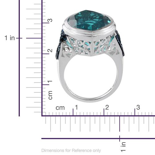 Capri Blue Quartz (Mrq 17.75 Ct), Blue Diamond Ring in Platinum Overlay Sterling Silver 17.770 Ct.