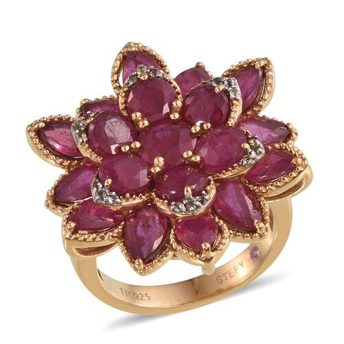 Stefy African Ruby (Rnd 1.25 Ct), Pink Sapphire and White Topaz Floral Ring in 14K Gold Overlay Sterling Silver 12.750 Ct.