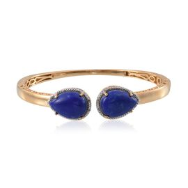 Lapis Lazuli (Pear), Diamond Bangle (Size 7.5) in 14K Gold Overlay Sterling Silver 20.550 Ct.