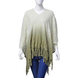 Designer Inspired Light Green and Deep Green Colour Poncho (Size 95x60 Cm)