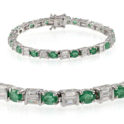 Kagem Zambian Emerald (Ovl), White Topaz Bracelet in Platinum Overlay Sterling Silver (Size 7) 10.500 Ct.