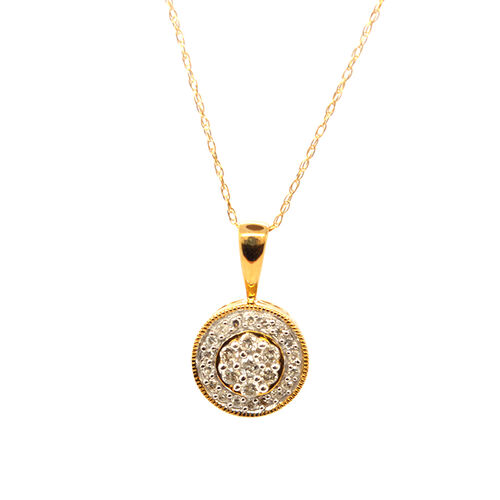 9K Y Gold Diamond (Rnd) Pendant With Chain 0.250 Ct.
