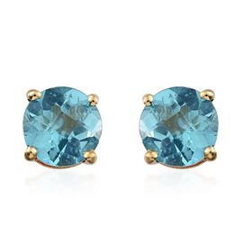 Paraibe Apatite (Rnd) Stud Earrings (with Push Back) in 14K Gold Overlay Sterling Silver 1.500 Ct.