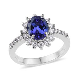 RHAPSODY 950 Platinum AAAA Tanzanite Oval 2.60 Carat, Diamond (VS E-F) Engagement Ring 3.250 Ct.
