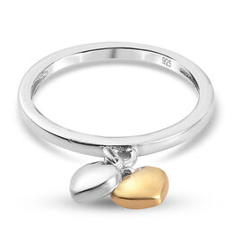 Platinum and Yellow Gold Overlay Sterling Silver Double Heart Stack Ring