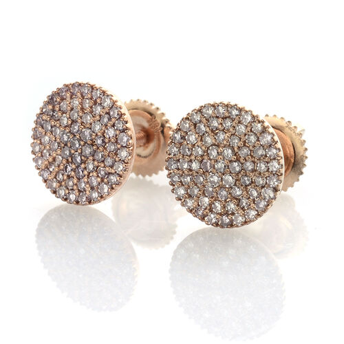 ILIANA 18K Rose Gold Very Rare Natural Pink Diamond (Rnd) (SI) Earrings (with Screw Back) 0.500 Ct.