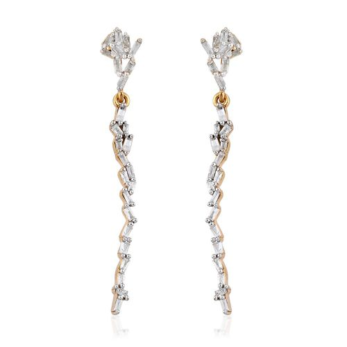 Diamond (Bgt) Earrings (with Push Back) in 14K Gold Overlay Sterling Silver 0.500 Ct.