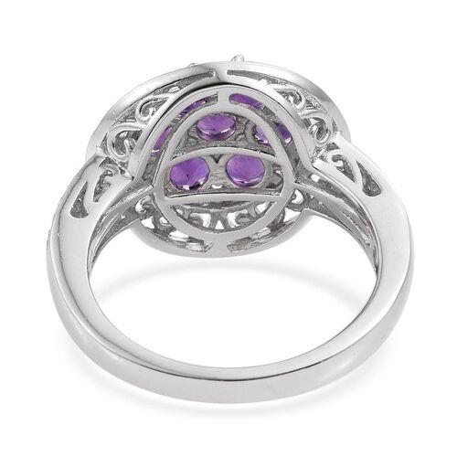 Lusaka Amethyst (Rnd) 7 Stone Floral Ring in ION Plated Platinum Bond 1.500 Ct.