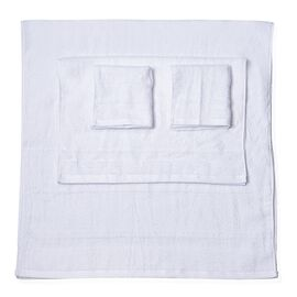 Set of 4 - White Colour Bamboo Cotton Towels - 1 Bath Towel (Size 130x65 Cm), 2 Face Cloths (Size 65x50 Cm) and 1 Hand Towel