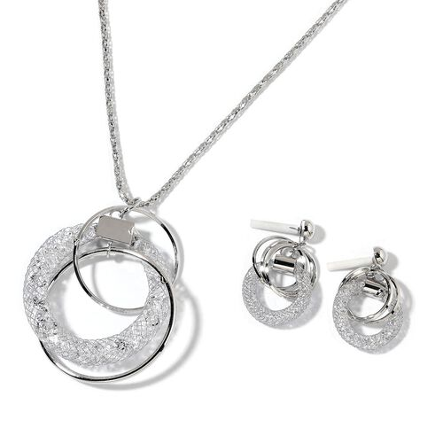 White Austrian Crystal Pendant With Chain and Earrings (with Push Back) in Silver Tone
