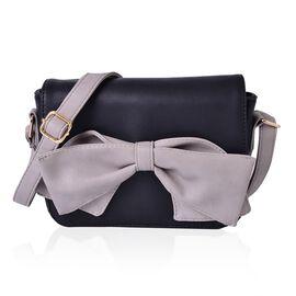 Dazzling Black Colour Fancy Bow Crossbody Bag With Adjustable Shoulder Strap (Size 20x15x7 Cm)