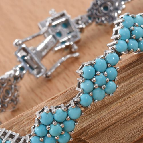 Arizona Sleeping Beauty Turquoise (Rnd) Bracelet (Size 7.5) in Platinum Overlay Sterling Silver 13.500 Ct.