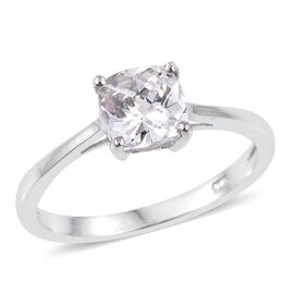 J Francis - Platinum Overlay Sterling Silver (Cush) Solitaire Ring Made with SWAROVSKI ZIRCONIA