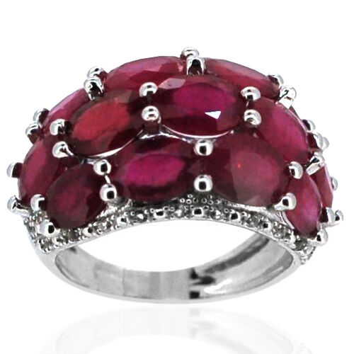African Ruby (Ovl), White Topaz Ring in Rhodium Plated Sterling Silver 13.750 Ct.