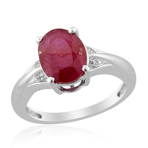 African Ruby (Ovl 3.00 Ct) White Topaz Ring in Platinum Overlay Sterling Silver  3.010 Ct.