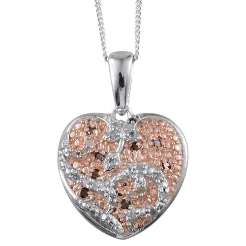 Red Diamond (Rnd), White Diamond Heart Pendant With Chain in Platinum Overlay Sterling Silver 0.200 Ct.