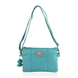 Limited Collection Genuine Leather RFID Blocker Turquoise Colour Bird Handbag with External Zipper Pocket and Adjustable Shoulder Strap (Size 29X20X4 Cm)
