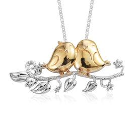 Platinum and Yellow Gold Overlay Sterling Silver Bird Pendant with Chain, Silver wt 6.15 Gms.