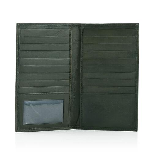 100% Genuine Leather Olive Colour Croc Embossed RFID Blocker Card Holder (Size 18.5x10.5 Cm)