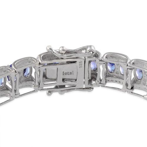 AA Tanzanite (Ovl), Diamond Bracelet in Platinum Overlay Sterling Silver (Size 7.5) 14.020 Ct.