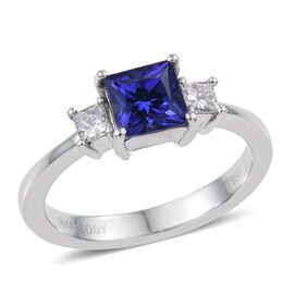 RHAPSODY 950 Platinum AAAA Tanzanite (Sqr 1.00 Ct), Diamond Ring 1.250 Ct.