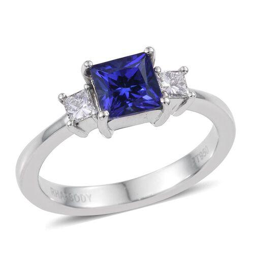 RHAPSODY 950 Platinum AAAA Tanzanite (Sqr 1.00 Ct), Diamond Ring 1.250 Ct. - 2500453