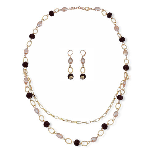 Champagne Cut Glass Station Necklace (Size 28) and Earrings in Gold Tone