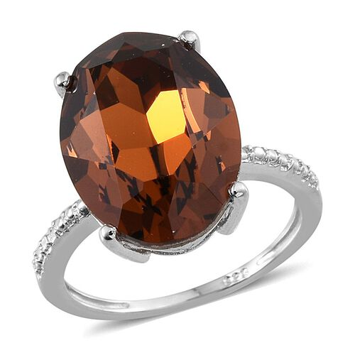 J Francis Crystal from Swarovski - Smoked Topaz Colour Crystal (Ovl) Ring in Platinum Overlay Sterling Silver