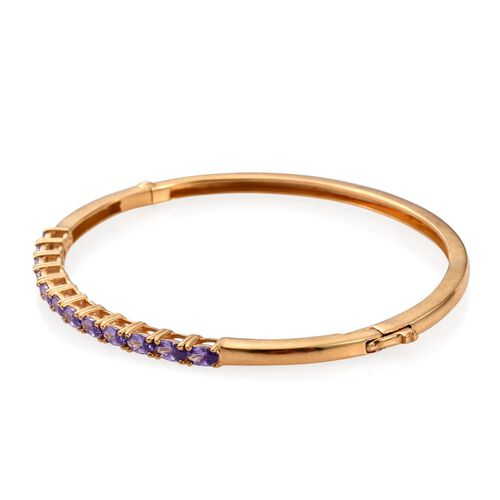 ELANZA AAA Simulated Amethyst (Ovl) Bangle (Size 7.5) in ION Plated 18K YG Bond