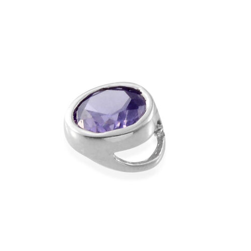 AAA Simulated Tanzanite (Rnd) Solitaire Pendant in Platinum Overlay Sterling Silver