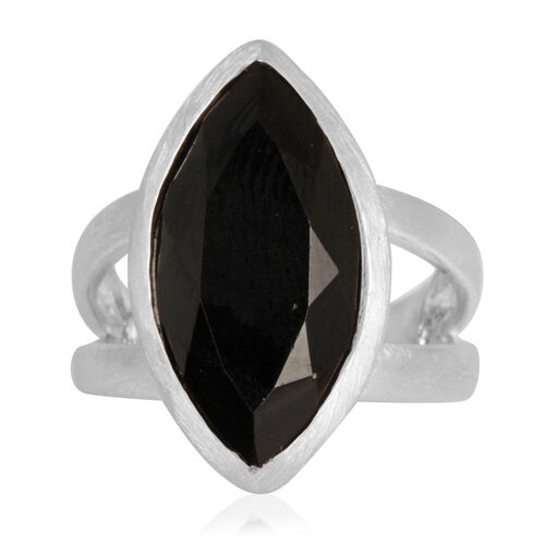 Boi Ploi Black Spinel (Mrq) Solitaire Ring in Rhodium Plated Sterling Silver 11.000 Ct.