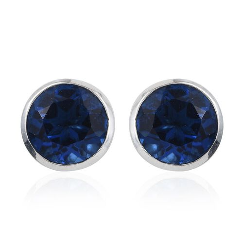 Ceylon Colour Quartz (Rnd) Stud Earrings (with Push Back) in Platinum Overlay Sterling Silver 4.500 Ct.