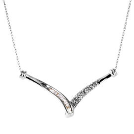 Limited Edition Tucson Collection 9K W Gold Diamond (Rnd- I2 Graded G-H) Necklace (Size 18) 0.33 Ct. 2.10 Grams of 9k White Gold