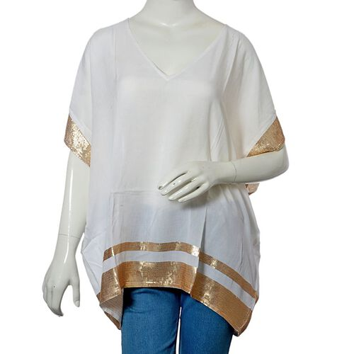 White Colour loose fit top with Golden Sequins at the Border (Free Size)